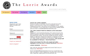 The Loerie Awards web application consists of a website interface and back-end administration system