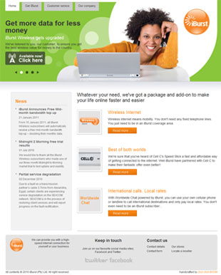 The new iBurst website design thawas completed in late 2010